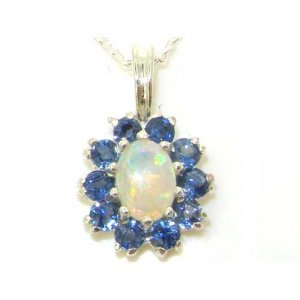 Luxury Ladies Solid White 9ct Gold Ornate Vibrant Natural Opal & Blue Sapphire Marquise Pendant Necklace
