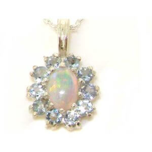 Luxury Ladies Solid White 9ct Gold Ornate Vibrant Natural Opal & Aquamarine Marquise Pendant Necklace