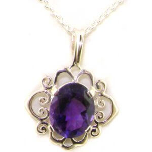 Luxury Ladies Solid White 9ct Gold Ornate 10x8mm Vibrant Natural Amethyst Pendant Necklace