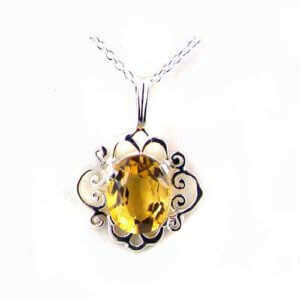 Luxury Ladies Solid White 9ct Gold Ornate 10x8mm Vibrant Natural Citrine Pendant Necklace