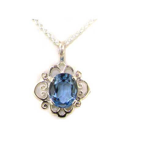 Luxury Ladies Solid 925 Sterling Silver Ornate 10x8mm Vibrant Natural Synthetic Aquamarine Pendant Necklace