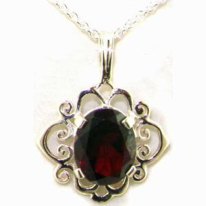 Luxury Ladies Solid White 9ct Gold Ornate 10x8mm Vibrant Natural Garnet Pendant Necklace