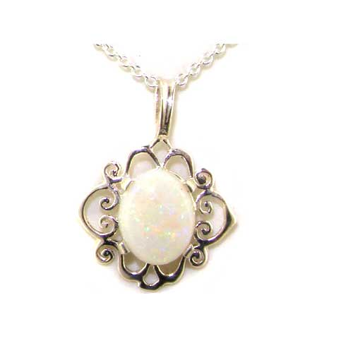 Luxury Ladies Solid White 9ct Gold Ornate 10x8mm Vibrant Natural Fiery Opal Pendant Necklace