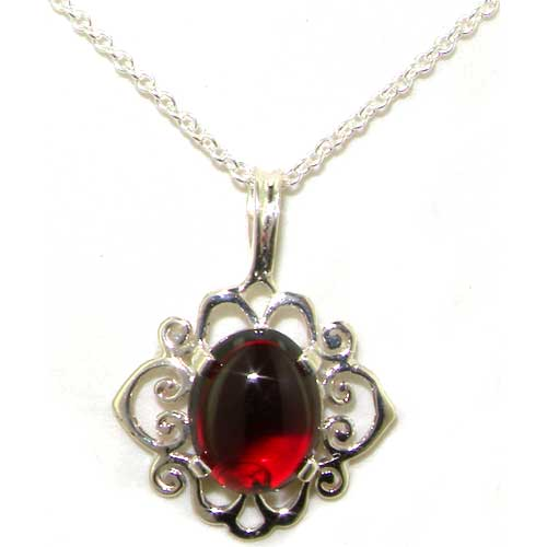 Luxury Ladies Solid 925 Sterling Silver Ornate 10x8mm Vibrant Natural Cabochon Garnet Pendant Necklace