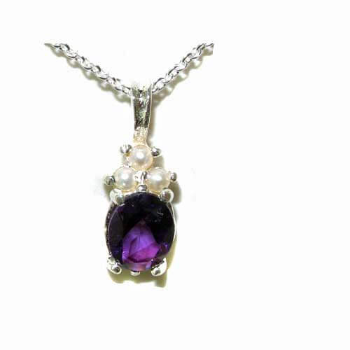 Luxury Ladies Solid White 9ct Gold Natural Amethyst and Pearl Contemporary Pendant Necklace