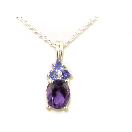 Luxury Ladies Solid 925 Sterling Silver Natural Amethyst and Tanzanite Contemporary Pendant Necklace