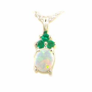 Luxury Ladies Solid White 9ct Gold Natural Opal and Emerald Contemporary Pendant Necklace