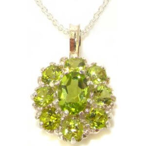 Luxury Ladies Solid 925 Sterling Silver Natural Peridot Large Cluster Pendant Necklace