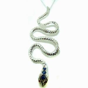 Luxury Ladies Solid White 9ct Gold Natural Sapphire & Ruby Detailed Snake Pendant Necklace