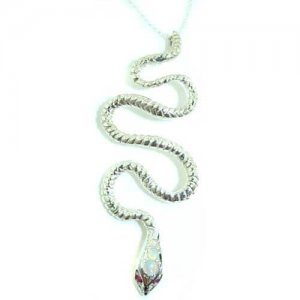 Luxury Ladies Solid 925 Sterling Silver Natural Opal & Ruby Detailed Snake Pendant Necklace