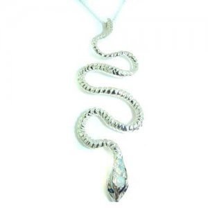 Luxury Ladies Solid White 9ct Gold Natural Opal & Sapphire Detailed Snake Pendant Necklace