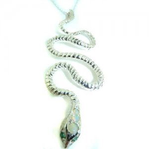 Luxury Ladies Solid 925 Sterling Silver Natural Opal & Emerald Detailed Snake Pendant Necklace