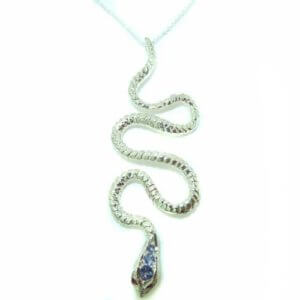 Luxury Ladies Solid White 9ct Gold Natural Tanzanite & Ruby Detailed Snake Pendant Necklace