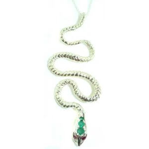 Luxury Ladies Solid 925 Sterling Silver Natural Emerald & Ruby Detailed Snake Pendant Necklace