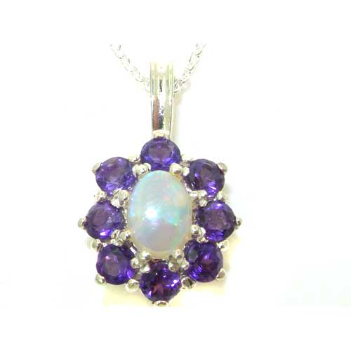 Luxury Ladies Solid White 9ct Gold Ornate Large Natural Fiery Opal and Amethyst Cluster Pendant Necklace