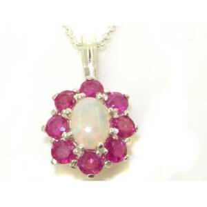 Luxury Ladies Solid White 9ct Gold Ornate Large Natural Fiery Opal and Ruby Cluster Pendant Necklace