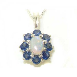 Luxury Ladies Solid 925 Sterling Silver Ornate Large Natural Fiery Opal and Sapphire Cluster Pendant Necklace