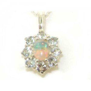 Luxury Ladies Solid White 9ct Gold Ornate Large Natural Fiery Opal and Aquamarine Cluster Pendant Necklace