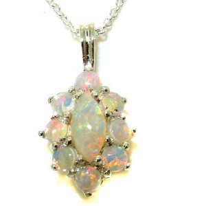 Luxury Ladies Solid 925 Sterling Silver Natural Opal Cluster Pendant Necklace