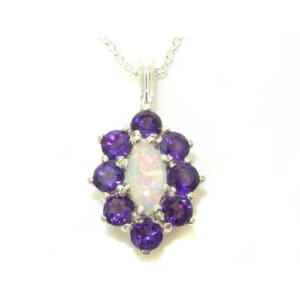 Luxury Ladies Solid 925 Sterling Silver Natural Opal & Amethyst Cluster Pendant Necklace