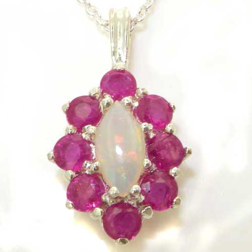 Luxury Ladies Solid 925 Sterling Silver Natural Opal & Ruby Cluster Pendant Necklace