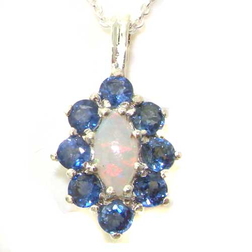 Luxury Ladies Solid 925 Sterling Silver Natural Opal & Blue Sapphire Cluster Pendant Necklace