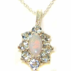 Luxury Ladies Solid 925 Sterling Silver Natural Opal & Aquamarine Cluster Pendant Necklace