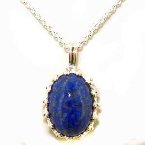 Luxury Ladies Solid White 9ct Gold Lapis Lazuli Large Vintage Pendant Necklace
