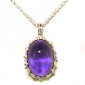 Luxury Ladies Solid 925 Sterling Silver Cabochon Amethyst Vintage Pendant Necklace