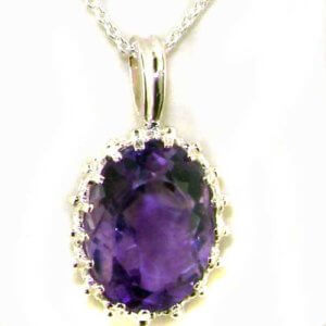 Luxury Ladies Solid White 9ct Gold Large 14x10mm Amethyst Vintage Pendant Necklace