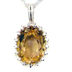 Luxury Ladies Solid 925 Sterling Silver Citrine Vintage Pendant Necklace
