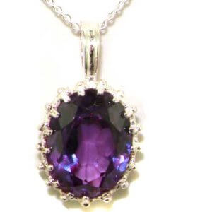 Luxury Ladies Solid 925 Sterling Silver Ornate 16x12mm Synthetic Alexandrite Pendant Necklace