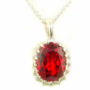 Luxury Ladies Solid 925 Sterling Silver Ornate 16x12mm Synthetic Orange Sapphire Pendant Necklace