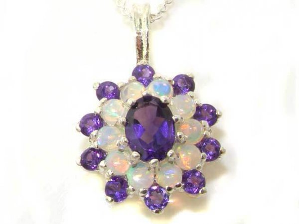 Luxury Ladies Solid 925 Sterling Silver Ornate Large Vibrant Natural Amethyst & Opal 3 Tier Large Cluster Pendant Necklace