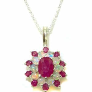 Luxury Ladies Solid White 9ct Gold Ornate Large Vibrant Natural Ruby & Opal 3 Tier Large Cluster Pendant Necklace