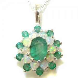 Luxury Ladies Solid White 9ct Gold Ornate Large Vibrant Natural Emerald & Opal 3 Tier Large Cluster Pendant Necklace