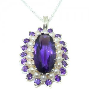 Unusual Luxury Ladies Solid 925 Sterling Silver Natural Large Amethyst & Pearl 3 Tier Cluster Pendant Necklace