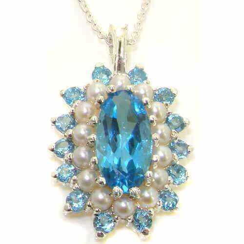 Unusual Luxury Ladies Solid White 9ct Gold Natural Large Blue Topaz & Pearl 3 Tier Cluster Pendant Necklace