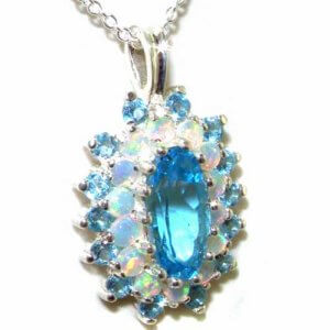 Luxury Ladies Solid 925 Sterling Silver 12x6mm Natural Blue Topaz & Opal 3 Tier Large Cluster Pendant Necklace