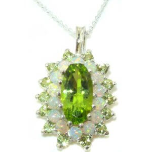 Unusual Luxury Ladies Solid 925 Sterling Silver Natural Large Peridot & Opal 3 Tier Cluster Pendant Necklace