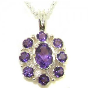 Unusual Luxury Ladies Solid White 9ct Gold Natural Amethyst Pendant Necklace