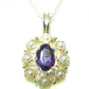 Unusual Luxury Ladies Solid White 9ct Gold Natural Amethyst & Pearl Pendant Necklace