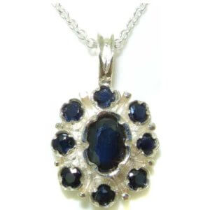Unusual Luxury Ladies Solid White 9ct Gold Natural Sapphire Pendant Necklace