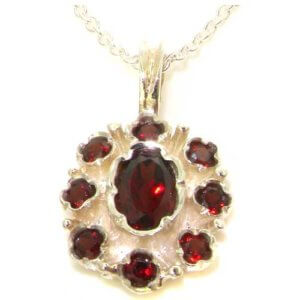 Unusual Luxury Ladies Solid White 9ct Gold Natural Garnet Pendant Necklace
