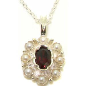 Unusual Luxury Ladies Solid 925 Sterling Silver Natural Garnet & Pearl Pendant Necklace