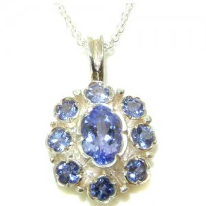 Unusual Luxury Ladies Solid White 9ct Gold Natural Tanzanite Pendant Necklace