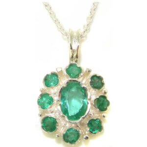 Unusual Luxury Ladies Solid 925 Sterling Silver Natural Emerald Pendant Necklace