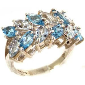 Outstanding Solid Sterling Silver Natural Vibrant Aquamarine & Blue Topaz Womens Right Hand Ring