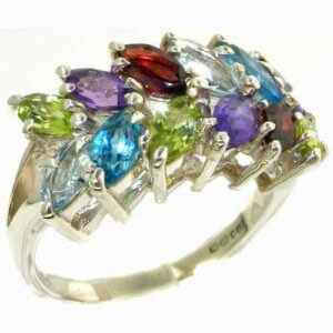 Outstanding Solid Sterling Silver Natural Vibrant Multi Gemstone Large Womens Ring