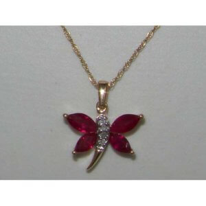 9ct Yellow Gold Ruby & Diamond Butterfly Pendant & Chain Necklace